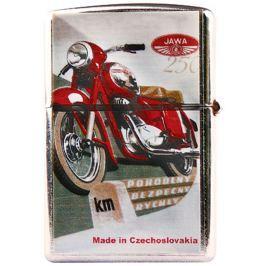 Bohemia Gifts Retro zapalovač kovový benzínový s potiskem Motorka červená 5,5 x 3,5 x 1,2 cm