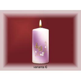 Lima Jubilejní 40 let svíčka bílá zdobená 70 x 150 mm 1 kus
