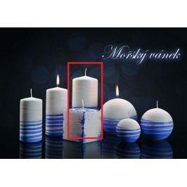 Lima Aromatická spirála Mořský vánek svíčka bílo - modrá válec 70 x 150 mm 1 kus