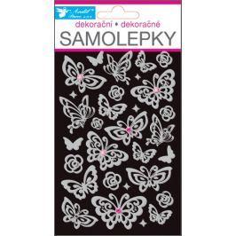 Room Decor Samolepky motýlci s kamínky 19 x 10 cm