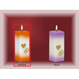 Lima Svatební svíce Srdíčko a prstýnky svíčka oranžová hranol 60 x 120 mm