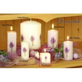 Lima Květina Levandule vonná svíčka světle fialová s obtiskem levandule krychle 45 x 45 mm 1 kus