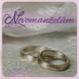 Albi Blahopřání do obálky 3D Novomanželům, stříbrné svatební prstýnky,15,5 x 15,5 cm