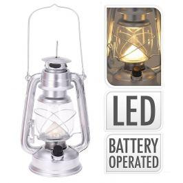 Lucerna s LED žárovkou 24 cm stříbrná