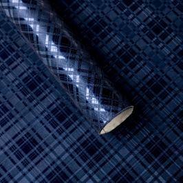 Luxusní strukturovaný balicí papír, tmavě modrý, vzor károvaný