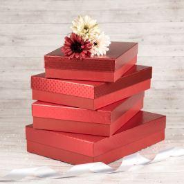 Dárková krabice Sabina, červená, vzor srdíčka velikost krabice Sabina: 1 - 33x22x7 cm