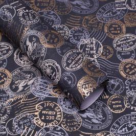 Balicí papír, natur, šedý, vzor razítka