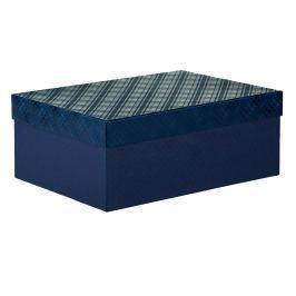 Dárková krabice Bety, modrá, vzor károvaný velikosti krabice Bety: 2 - 30,5x21x13,5 cm