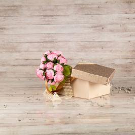 Dárková krabice Hana, krémová, vzor lístky