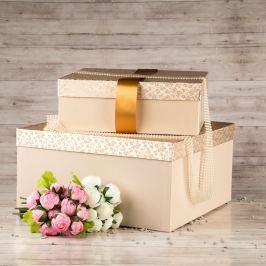 Dárková krabice Marta, krémová, vzor lístky velikosti krabice Marta: 3 - 40x40x20 cm