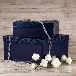 Dárková krabice Marta, modrá, vzor károvaný velikosti krabice Marta: 1 - 33x33x12 cm