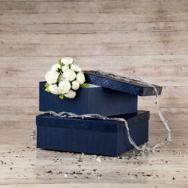 Dárková krabice Bořek, modrá, vzor károvaný velikosti krabice Bořek: 4 - 25x25x10,5 cm