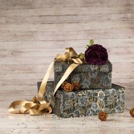 Dárková krabice Bořek, šedá, vzor razítka velikosti krabice Bořek: 6 - 30x30x11 cm