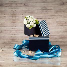 Dárková krabice Zina, pruhovaná velikosti krabice Zina: 5 - 16x16x12 cm