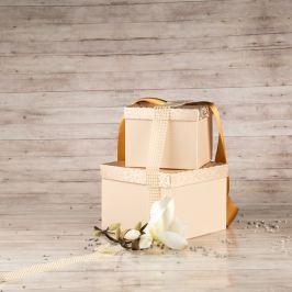 Dárková krabice Zina, krémová, vzor lístky velikosti krabice Zina: 5 - 16x16x12 cm