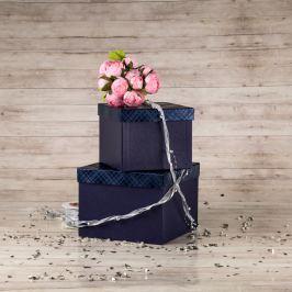 Dárková krabice Zina, modrá, vzor károvaný