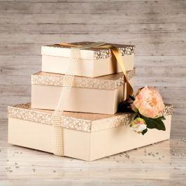Dárková krabice Lukáš, krémová, vzor lístky velikosti krabice Lukáš: 1 - 31x21x9 cm