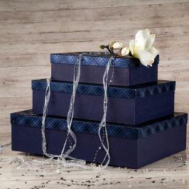 Dárková krabice Lukáš, modrá, vzor károvaný velikosti krabice Lukáš: 3 - 41x29x11,5 cm