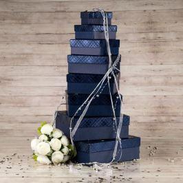 Dárková krabice Karla, modrá, vzor károvaný velikosti krabice Karla: 1 - 8x8x4 cm
