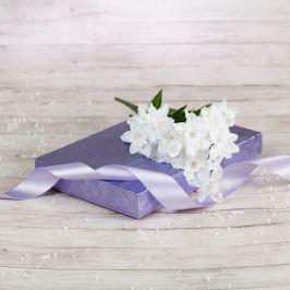 Dárková krabice Ilona, fialová, vzor květiny velikosti krabice Ilona: 1 - 22x15x3,5 cm