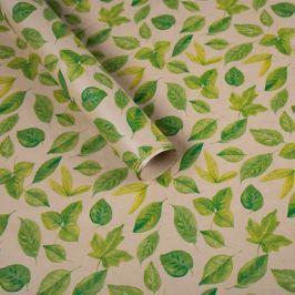 Balicí papír, natur, zelené listy