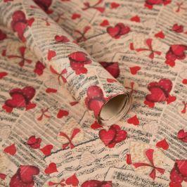 Balicí papír, noty a srdce