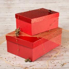 Dárková krabice Bety, červené komety velikosti krabice Bety: 2 - 30,5x21x13,5 cm
