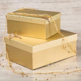 Dárková krabice Bety, zlaté vločky velikosti krabice Bety: 2 - 30,5x21x13,5 cm