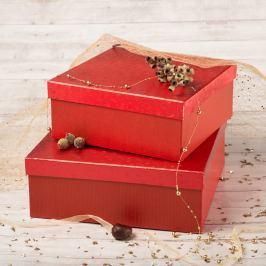 Dárková krabice Bořek, červené komety velikosti krabice Bořek: 4 - 25x25x10,5 cm