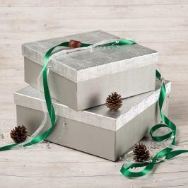 Dárková krabice Bořek, stříbrná , vzor vlnky velikosti krabice Bořek: 4 - 25x25x10,5 cm čtvercové