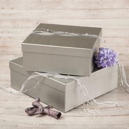 Dárková krabice Bořek, stříbrný natur velikosti krabice Bořek: 4 - 25x25x10,5 cm