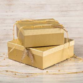 Dárková krabice Bořek, zlaté vločky velikosti krabice Bořek: 4 - 25x25x10,5 cm