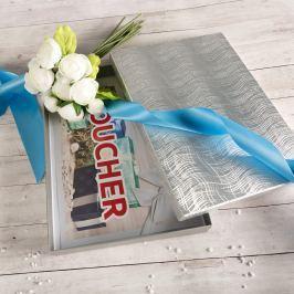 Dárková krabice Ilona, stříbrná, vzor vlnky