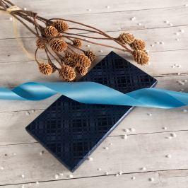 Dárková krabice Míla, modrá, vzor károvaný