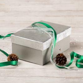 Dárková krabice Hana, stříbrná, vzor vlnky