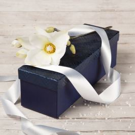 Dárková krabice Linda, modrá, vzor károvaný