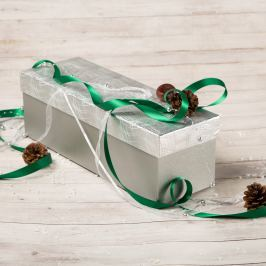 Dárková krabice Linda, stříbrná, vzor vlnky