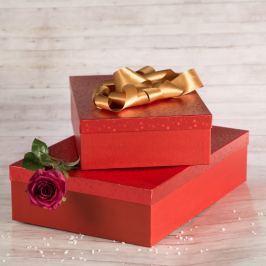Dárková krabice Lukáš, červené komety velikosti krabice Lukáš: 3 - 41x29x11,5 cm Vánoce