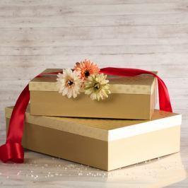Dárková krabice Lukáš, zlaté vločky velikosti krabice Lukáš: 3 - 41x29x11,5 cm