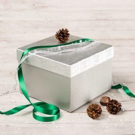 Dárková krabice Zina, stříbrná, vzor vlnka