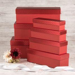Dárková krabice Linda, červená, vzor srdíčka