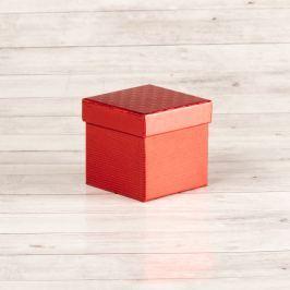 Dárková krabice Zina, červená, vzor srdíčka velikosti krabice Zina: 2 - 10x10x9 cm