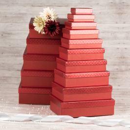 Dárková krabice Max, červená, vzor srdíčka velikosti krabice Max: 1 - 8x5,5x2,5 cm
