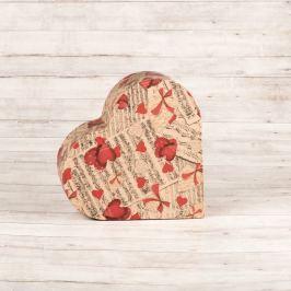 Dárková krabice Lina, natur, vzor noty a srdce velikosti krabice Lina: 1 - 7,3x7x3 cm