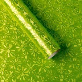 Luxusní strukturovaný balicí papír, zelený, vzor kopretiny