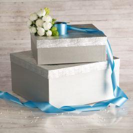 Dárková krabice Marta, stříbrná, vzor vlnky velikosti krabice Marta: 1 - 33x33x12 cm