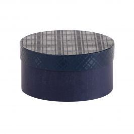 Dárková krabice Lucie, modrá, vzor károvaný velikosti krabice Lucie: 1 - 20x10 cm kulaté