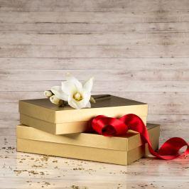 Dárková krabice Sabina, zlatá natur velikost krabice Sabina: 2 - 36x24x7,5 cm