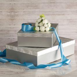 Dárková krabice Lukáš, stříbrná, vzor vlnky velikosti krabice Lukáš: 3 - 41x29x11,5 cm