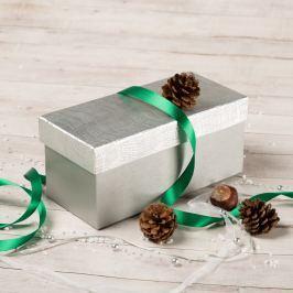 Dárková krabice Jana, stříbrná, vzor vlnky obdélníkové